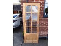 Pine internal door with glass window