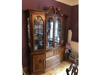 Mahogany Effect, Extendable Table, 6 Chairs (including carvers) & Matching Cabinet