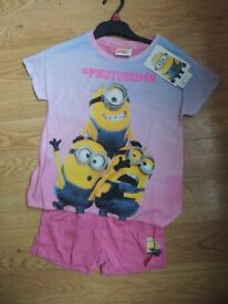 Brand New & tagged Age 6-7 minion girl's summer pyjamas sleepwear