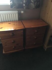 Two Solid pine wood bedside draws and king size pine headboard
