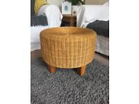 Wooden Wicker Footstool / Stool