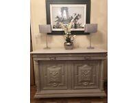 regency carved solid oak buffet sideboard cupboard dresser