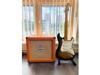 Vester Tradition Stratocaster Guitar, Orange Tiny Terror Amp