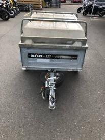 Daxara 127 unbraked, 4' x 3', single axled, hardtop trailer,