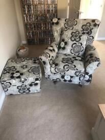 Alston swivel chair and foot stool