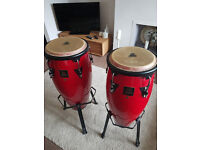 "LP Aspire Congas, 10"" and 11"", with stands and bags"