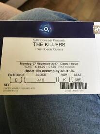 The Killers o2 Monday 27th November