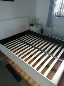White King size laux leather bed frame
