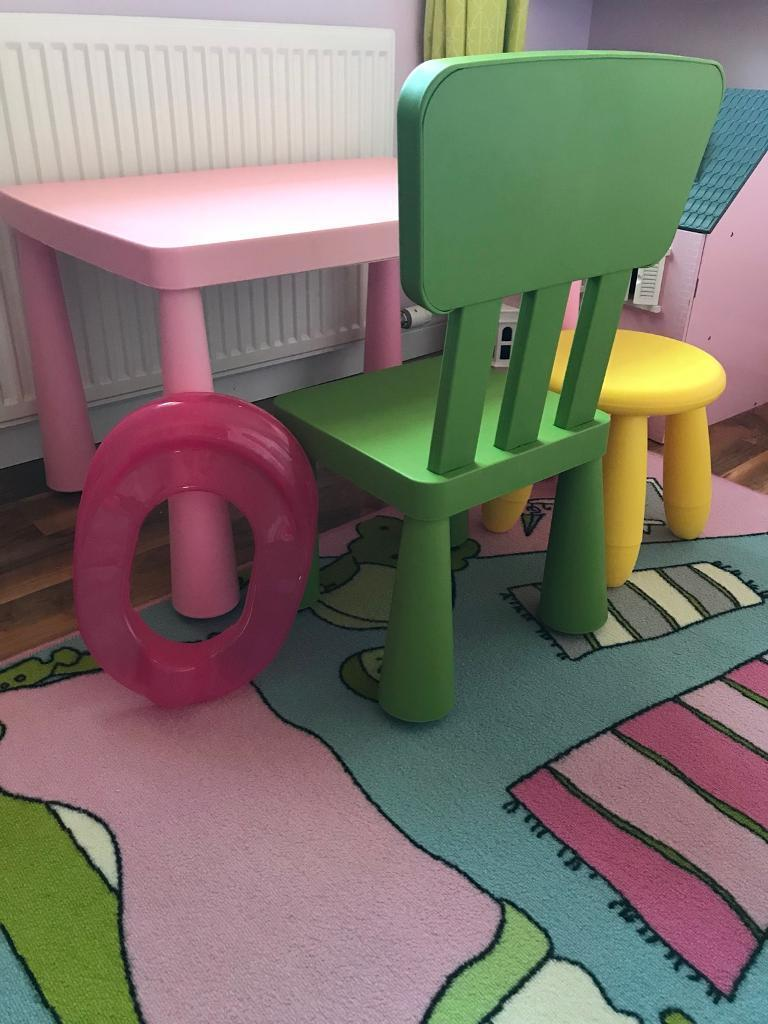 Children's Ikea Mammut Table Chair And Stool Also Kids