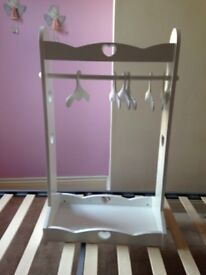 Children's swivel mirror and clothes rack stand