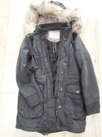 Ladies waxed jacket with fur hood, M&S, size 10