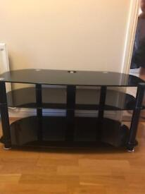 Black TV unit with cable tidy