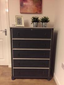Fully refurbished very solid tallboy chest of drawers in chalk graphite and grey finish