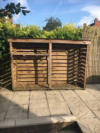 Wooden Double Log Store With Built In Shelf Excellent Condition RRP£300