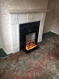 electric fire with white surround