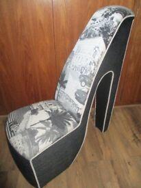 Stunning designer high heel shoe bedroom chair