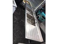 Stainless steel double bowl double drainer sink