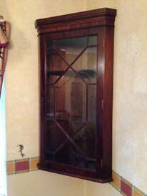 Mahogany CORNER WALL CABINET , Solid Wood Display Cab