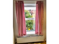 Pink gingham curtains