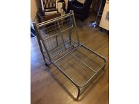 Silver metal chair bed