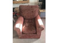 Arm Chair, Maroon and gold paisley pattern