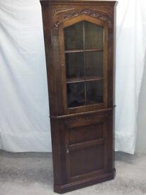 Corner Unit Display / Storage Cabinet Medium Oak Solid Wood
