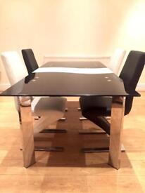 Rafaello Extending Glass Table with Hampstead Z Chairs BARGAIN PRICE!