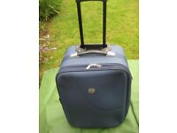 Medium Constellation Blue Fabric Expandable Suitcase with Telescopic Handle and Wheels