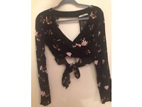 Pull and Bear black floral wrap around top size small