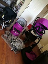 Babystyle Oyster 2 pram with car seat. Bumbo seat & play mat