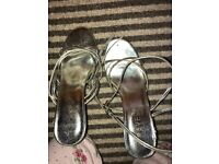 Ravel strapping silver heels