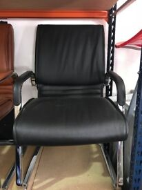 NEW leather cantilever chairs - black, tan or cream - reduced to clear - very comfortable