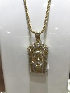 10k Yellow Gold And 0.28ct Diamond Jesus Piece Pendant Set With Diamond Cut Rope chain