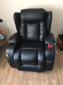 Black leather recliner arm chai