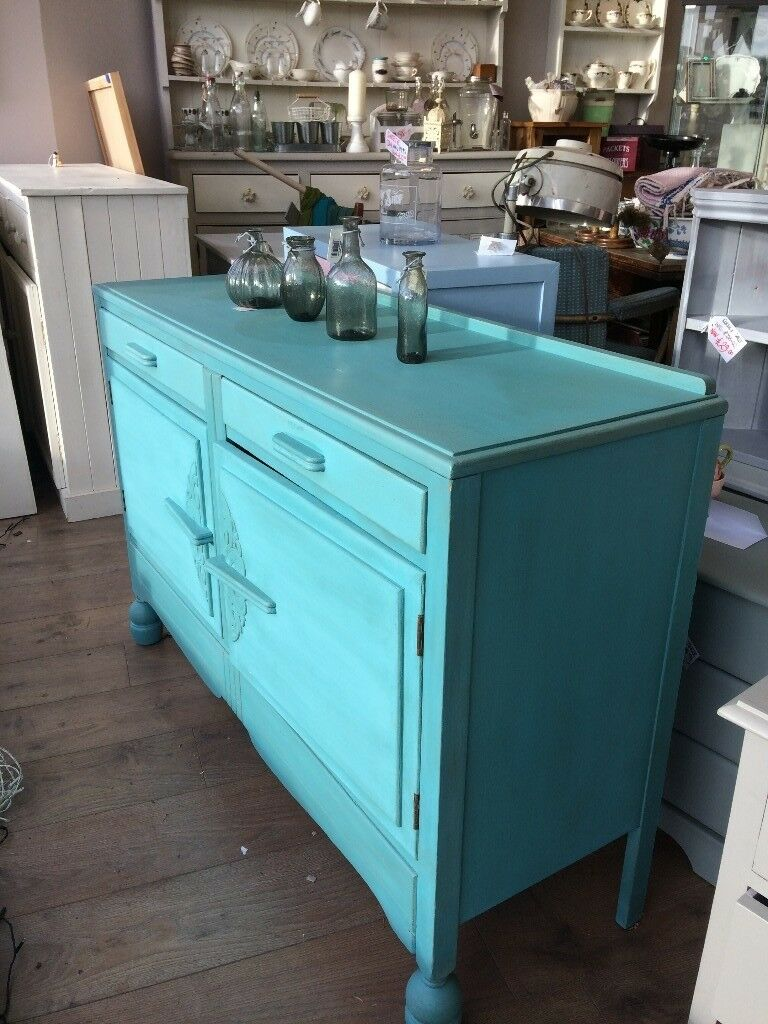 Stunning 1950s hand painted wooden sideboard in turquiose | in North ...