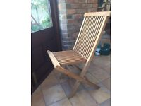 Set of 6 solid teak 'steamer' chairs. Good condition. Only occasionally used and only indoors.