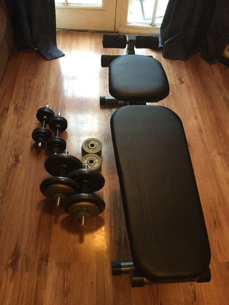 Weights bench and 50kg cast iron weights