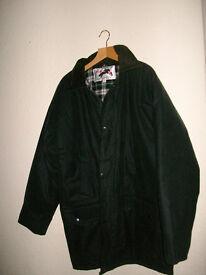 Men s green wax jacket size M