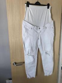Maternity white ripped jeans size 18