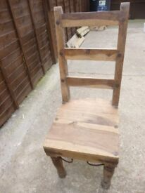 set of 4 solid oak dining chairs