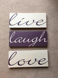 Live Laugh Love Canvases