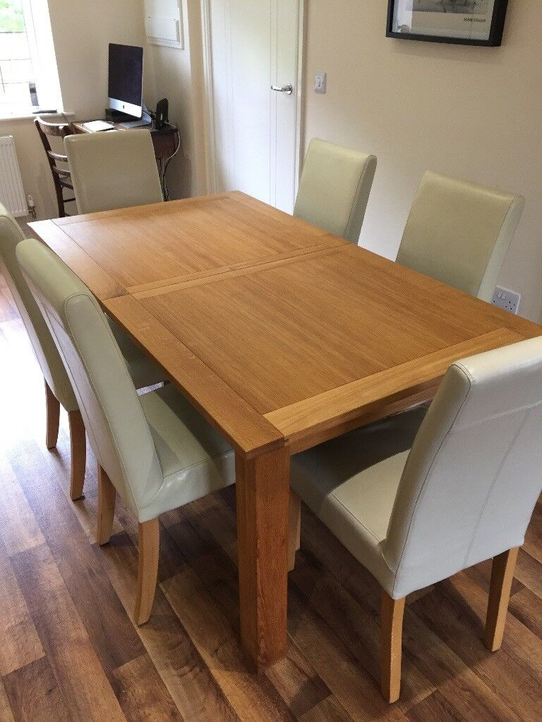 Next Dining Furniture Cambridge Solid Oak Extending Table And 6 Leather Chairs