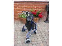 Days blue painted steel tri-wheeled walker with loop brakes and bag - excellent condition