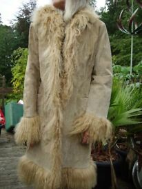 Ladies Beige Suede and Poodle Fur Coat