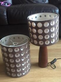 Brown lamp shade and matching table lamp