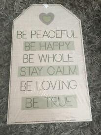 Brand new Shabbychic wooden plaques x2 set
