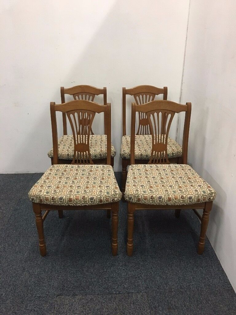 Four Matching Cotswold Collection Solid Wood Dining Chairs