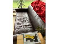 John Lewis Genuine Leather Sofa Couch Settee Beautiful Dark Chocolate Brown