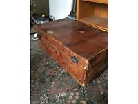 Large leather vintage trunk