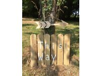Wooden Wedding Sign Plus Arrow Log